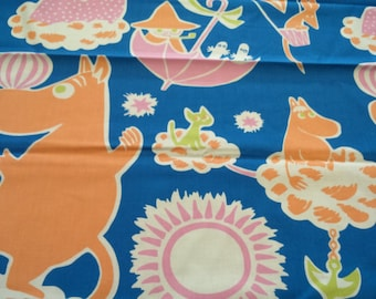 Moomin fabric Moomins blue background orange pink white Moomin characters Cotton Fabric Kids Fabric Scandinavian Design Scandinavian Textile