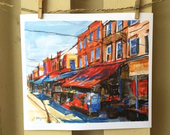 Philadelphia Painting Watercolor. 9th Street Italian Market South Philly southside 11x14 or 12x16 Framed Philly Art Print. Gwen Meyerson