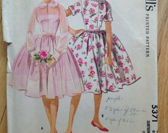 Vintage 1950's McCall's 5371 Sewing Pattern Party Dress • size 14