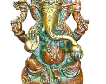 Vintage Blessed Ganesha Brass Statue Sitting on a Chowki ancient India Decor