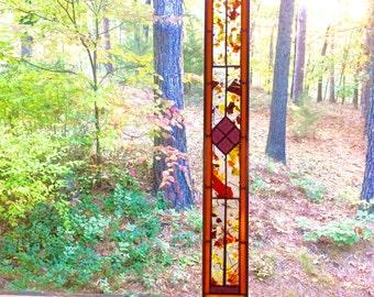 Marvelous stained glass panel suncatcher gift art glass window treatment stained glass window