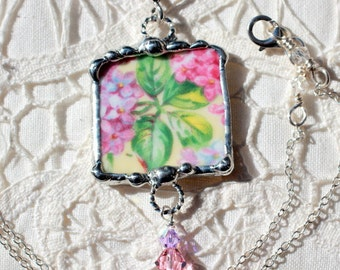 Necklace, Broken China Jewelry, Broken China Necklace, Square Pendant, Pink and Yellow Floral Chintz, Sterling Silver, Soldered Jewelry