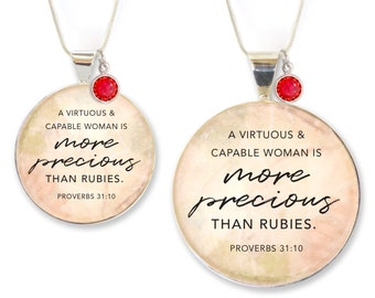 More Precious Than Rubies – Proverbs 31 Silver Pendant Necklace & Bracelet with Swarovski Rhinestone