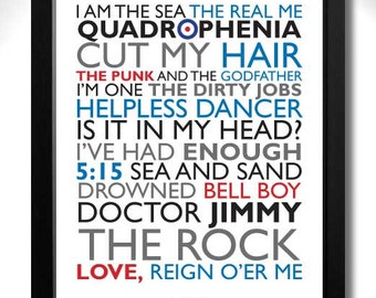 THE WHO - QUADROPHENIA Album Limited Edition Unframed A4 Mod Art Print with Song Titles