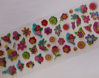 sheet of 44 flowers scrapbooking stickers