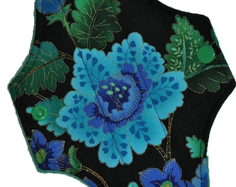 Liner Core- Peacock Flowers Reusable Cloth Mini Pad- WindPro 7.5 Inches (19 cm)
