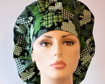 Scrub Hats Happy St Patrick Four Leaf Clovers All Over Medical Bouffant Scrub Hat - with a Matching Headband