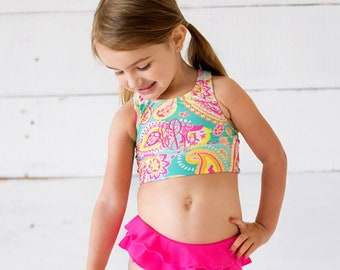 Size 6-6X Girls Summer Paisley Swim Set, Personalized Girls Swim Suit