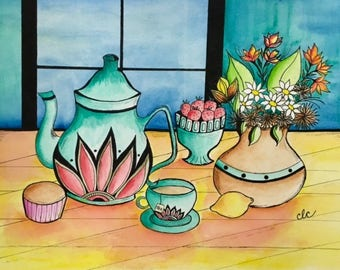 Original Watercolor, Still Life Painting, Tea Party, Room Decor, Kitchen Wall Art, Cup of Tea, Housewarming Gift, Unframed Art, Gift for