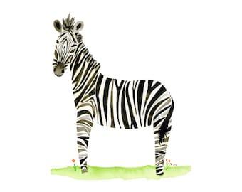 Zebra, Watercolor Art Print, Nursery Decor, Safari Theme, Baby Shower Gift, Kids Room, Nursery Wall Art, 8x10