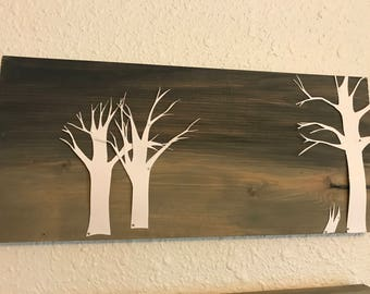 Paper Tree Cut-Outs on Wood