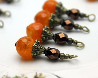 Orange Agate and Copper Czech Vintage Style Bead Dangle Charm Drop Set, Earring Dangle, Jewelry Making, Pendant
