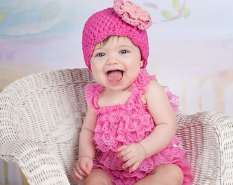 Baby Girl Hat 0 to 3 Month Hot Pink Baby Hat Baby Girl Clothes Baby Girl Beanie Crochet Flower Hat Flapper Beanie Photo Prop Light Pink