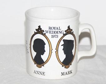 Princess Anne and Mark Phillips 1973 Royal Wedding commemorative Staffordshire mug