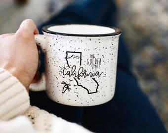 California Map | California Gift | California Mug | State Mug | California Coffee Mug | Campfire Mug | The Golden State
