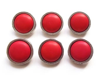 6 buttons made of sterling silver and 21 mm red resin / high quality