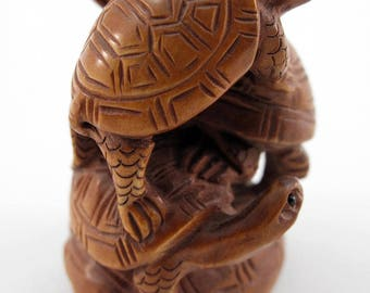 Turtle Stack Japanese Hand-Carved Boxwood Netsuke Bead