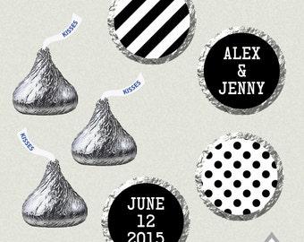 Hershey Kiss Labels, Wedding Kisses, Printable Hershey Kiss stickers, Wedding Kiss Favors, Black and White Kisses, Black and White Wedding