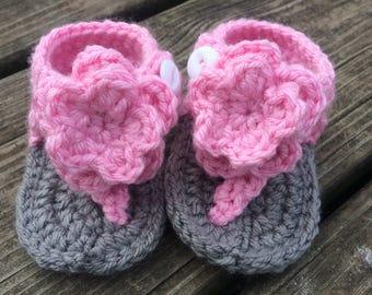 Pink baby sandals, crochet baby sandals, newborn baby sandals, gladiator sandals