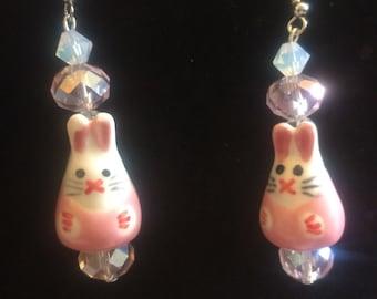 Pink Bunny Earrings