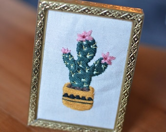 Mini Cactus // Handstitched embroidery art