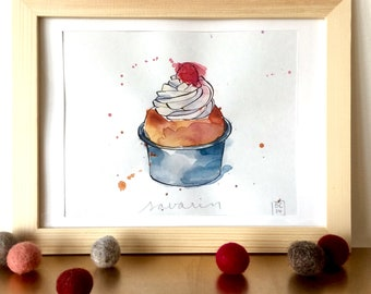Savarin Illustration - French Cake - Pastry  - Original Ink and Watercolour on Paper
