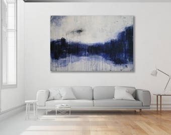 Textured Blue and Grey Abstract Painting / Modern Art / Original Art / Blue Painting / Blue Abstract Art / Blue and Grey Art