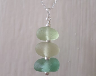 Stacked Sea Glass Sterling Silver Necklace, Pendant, Stack, Seaglass, Beach Glass Jewelry, Seaham, Beach Jewelry, Blue, Green, Pastel