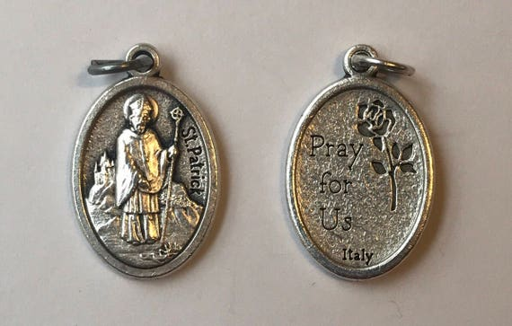 5 Patron Saint Medal Findings, St. Patrick, Die Cast Silverplate, Silver Color, Oxidized Metal, Made in Italy, Charm, Drop, Religious