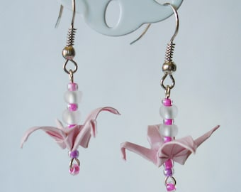 Handmade Origami Earrings with Cranes of Happiness Metallic Paper Pink and White Glitter