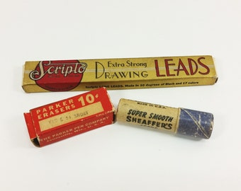 Scripto Pencil Leads Red Drawing Sheaffers Leads Parker Erasers, Vintage Mechanical Pencil Office Supplies