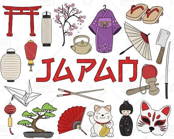 japan clipart vector pack japanese doodles asia clipart rh etsy com japanese clipart flowers japanese clip art free download