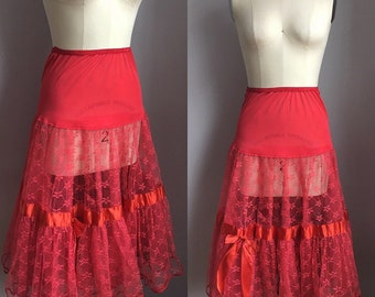 Vintage 1950's Red Lace Crinoline Petticoat Slip Size Small Medium