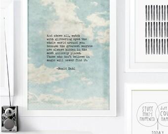 Roald Dahl Art Print. Watch with glittering eyes Inspirational Art. Typewriter Typographic Art. Wall Art. Home Office Decor. Coworker Gift