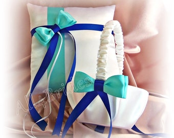 Royal blue and Aqua Blue wedding ring pillow and flower girl basket