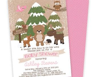 Winter Woodland Baby Shower Invitation, Woodland Invitation, Winter Baby Shower, Winter Forest Animals, Baby Shower Invitation  |652