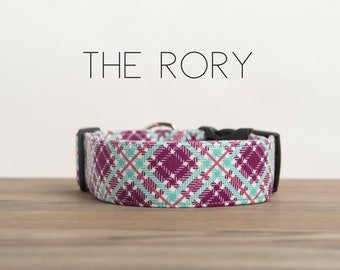 "Purple, Raspberry & Ice Frappe  Modern Girly Plaid Dog Collar ""The Rory"""
