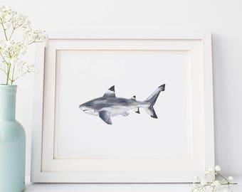 Shark Art Print, Shark Artwork, Art Print Painting, Digital Download Art, Printable Wall Art, Shark Decor, Ocean Print Little Boy Room Decor