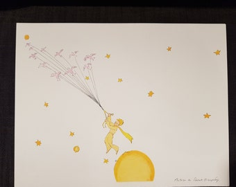 The little Prince on the road to another planet: original lithograph in colors from a drawing of Antoine de Saint-Exupery