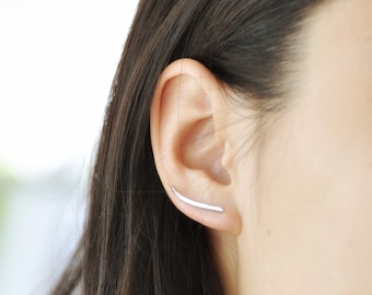 Sterling Silver Ear Climber, Ear Pin, Curve Ear Climber, Simple Ear Climber, Bar Ear Climber, Jamber Jewels 925