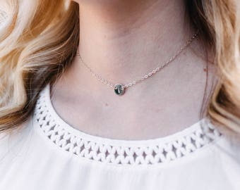 Initial Choker Necklace, Dainty Coin Choker, Sterling Silver or 14k Gold Fill, Personalized Choker, Layering Choker