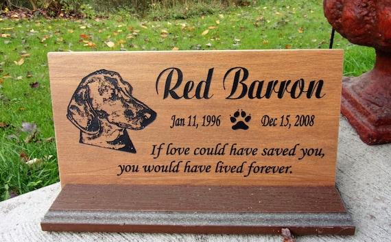 """Dachshund Grave Marker 12x6 - """"Red Barron"""" design"""