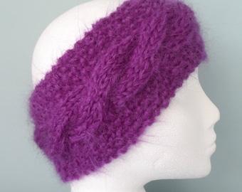 Hand knitted Purple Chunky Mohair Earwarmer or Headband