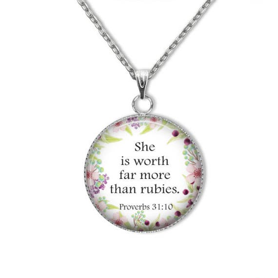 BIBLE Verse Pendant for Women - with 18 or 24 inches - SHE is worth more  than rubies - Proverbs 31:10