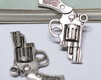 15pcs Antique Silver 3D Hand Gun Pistol Charm Pendants 23x30mm AA101-5