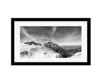 black and white mountain photography, mountain photography, panoramic art, mount serles, wall decor for dining room, mountain wall décor