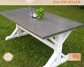 Gray Farm House Table, Farm House Trestle Table, Dine Room Table, Dining Table, Traditional, Farmhouse, Farmhouse Table, Farm Table, Rustic