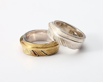 Feather Couple Ring | Silver Feather Ring | Gold Feather Band Ring | Engraved Silver Band | Bohemian Ring Tribal | 18K Gold and Silver Band