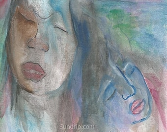 Holding Color Bear Up Original Watercolor Surreal Abstract Art Painting
