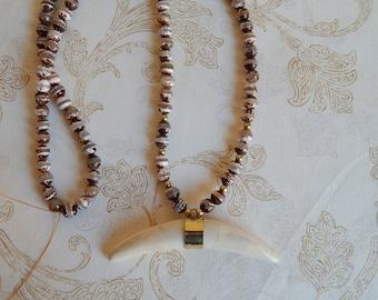 Horizontal bone crescent pendant with rustic agate beads, brass nuggets, fall jewelry, beach chic, boho style, organic, earthy jewelry